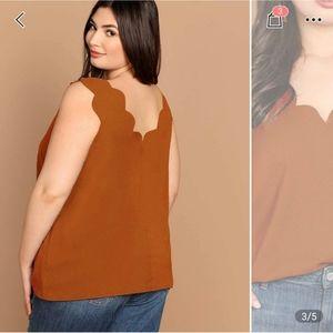 SHEIN Tops - Scalloped orange tank top